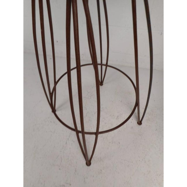 Contemporary Mid-Century Modern Wrought Iron Bar Stools - Set of 3 For Sale - Image 3 of 5