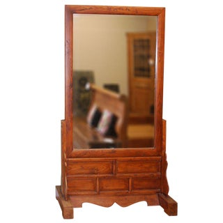 Large Antique, Two-Sided Floor Mirror For Sale