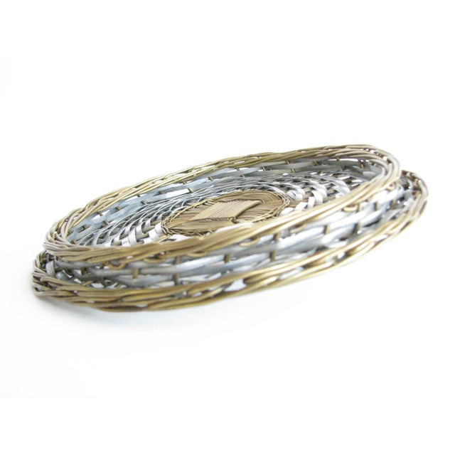 Vintage Woven Two-Tone Metal Wire Lidded Basket For Sale - Image 9 of 11