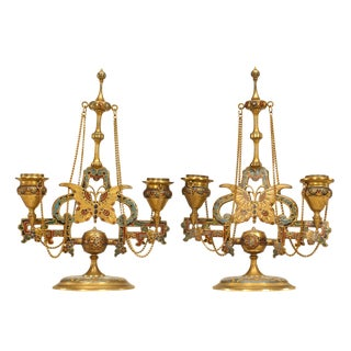 Pair of French Victorian Double Arm Candelabra For Sale