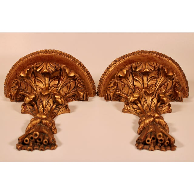 1960s 1960s Hollywood Regency Italian Golden Wheat Wall Shelves - a Pair For Sale - Image 5 of 11