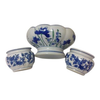 Vintage Blue & White Chinese Ceramic Planters – Set of 3