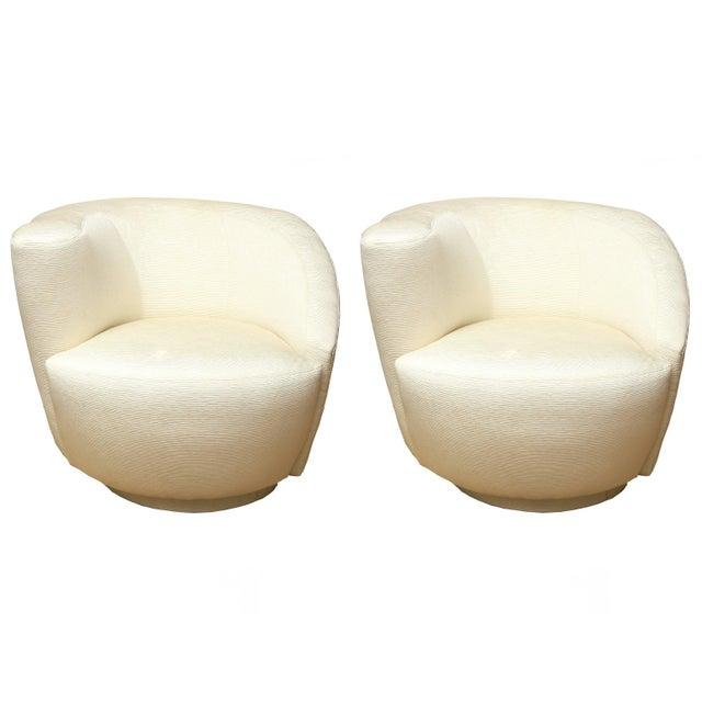 "White 1970s Vintage Vladimir Kagan"" Nautilus"" Swivel Lounge Chairs- A Pair For Sale - Image 8 of 11"