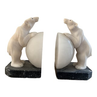 Vintage White Carved Alabaster Polar Bear Bookends For Sale