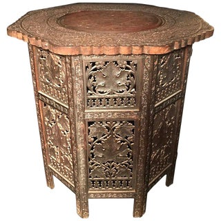 20th CenturyMoorish Octagonal Carved Hardwood Tabouret For Sale