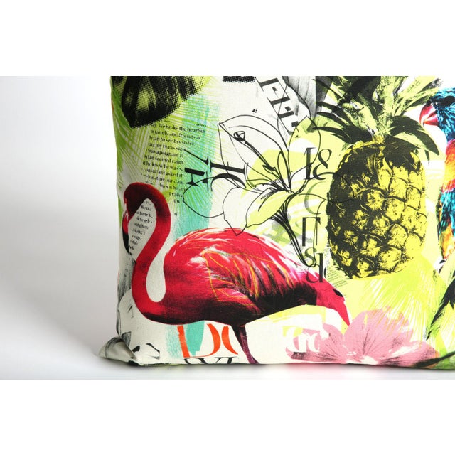Pineapple Flamingo Art Tropical Decorative Euro Sham Pillow - Image 6 of 6