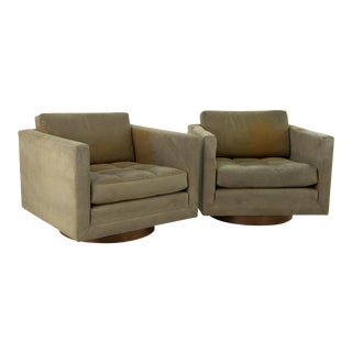 Harvey Probber Mid Century Cube Club Swivel Chairs - a Pair For Sale