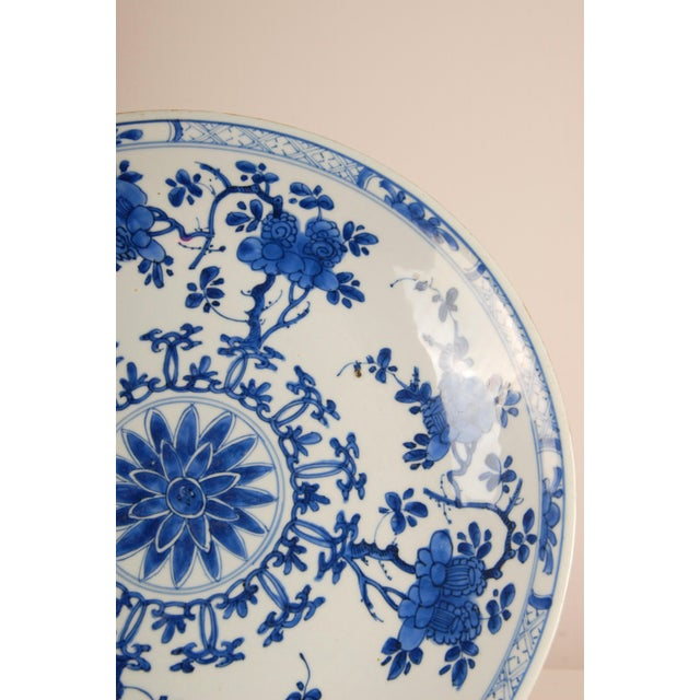 17th Century Antique Chinese Ming Porcelain Blue and White Deep Charger Bowl For Sale - Image 10 of 12