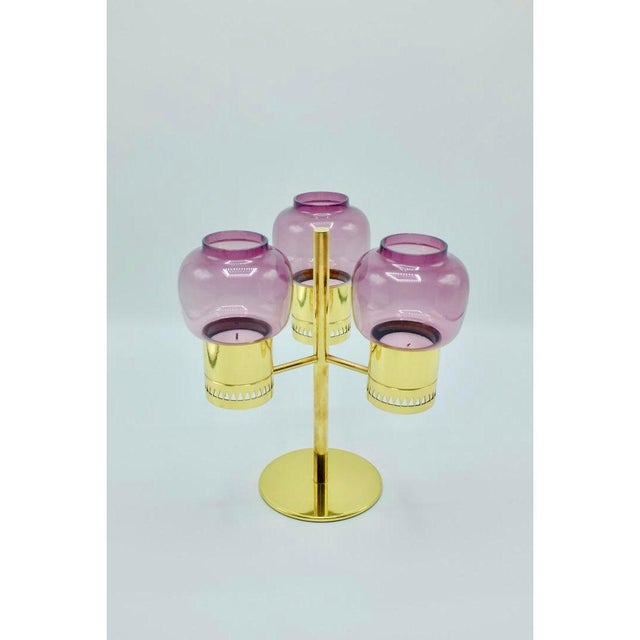 1950s Purple Glass and Brass Candlestick Model L-67 by Hans-Agne Jakobsson For Sale - Image 5 of 6