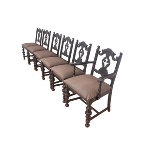 Black Striped Dining Chairs - Set of 6