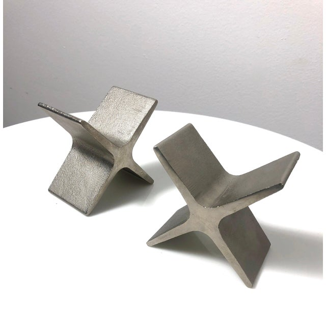 1970s Vintage Carl Aubock X Bookends- A Pair For Sale In Detroit - Image 6 of 9