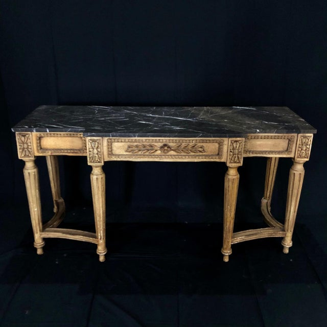 French Louis XVI Style Console Table With Marble Top For Sale - Image 4 of 13