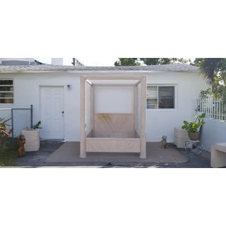 1970s Vintage Palm Beach Hollywood Regency Style Canopy Queen Size Rattan Bed Preview