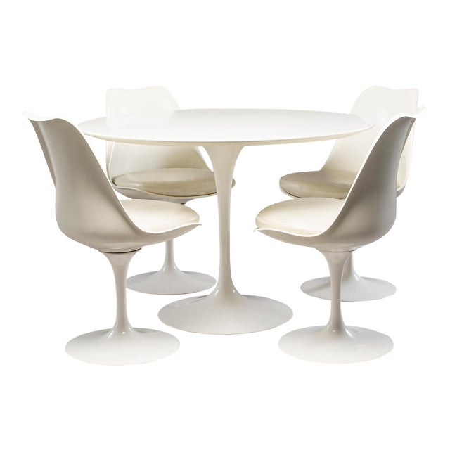 Excellent Knoll Saarinen White Laminate Tulip Table With Four - Chairs for tulip table