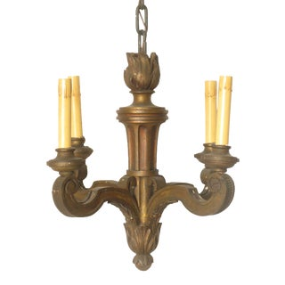 French / Italian Carved Wood Chandelier For Sale
