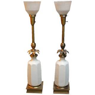 Hollywood Regency Lenox Porcelain and Brass Stiffel Lamps For Sale