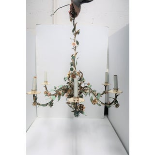 1940s Italian Enamel and Gold Gilt Tole Chandelier Preview