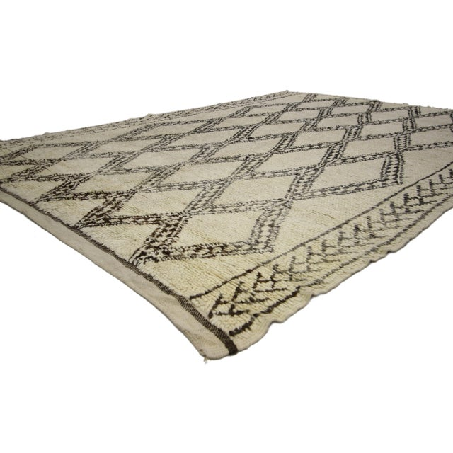 Tan 20th Century Moroccan Berber Beni Ourain Diamond Patterned Rug For Sale - Image 8 of 10