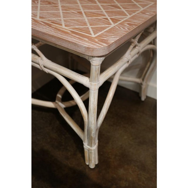 White-Wash Finish Rattan Occasional Table For Sale - Image 4 of 11
