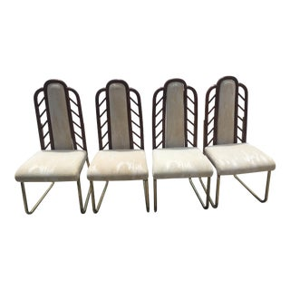 Mid Century Modern Bamboo & Brass Chippendale Style Chairs - Set of 4 For Sale