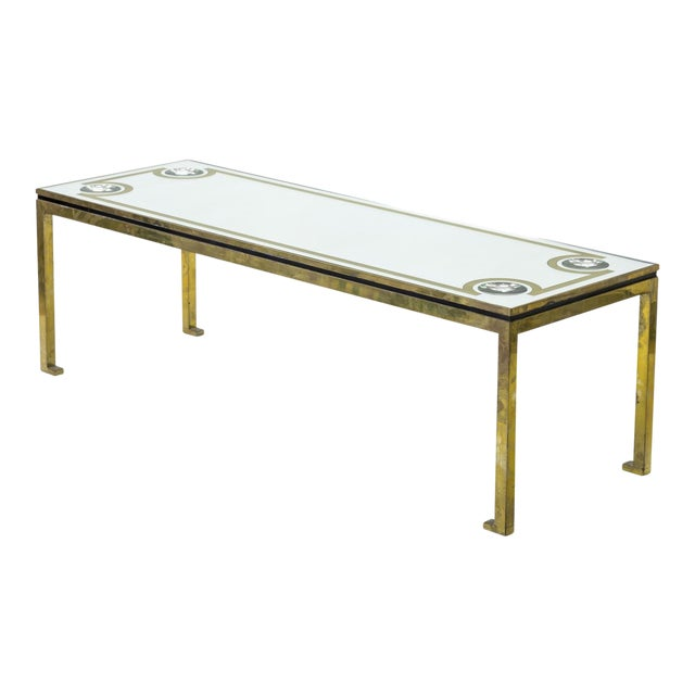 Andre Hayat Exclusive Long Bronze Coffee Table With Mirrored Top & Lense Effect For Sale