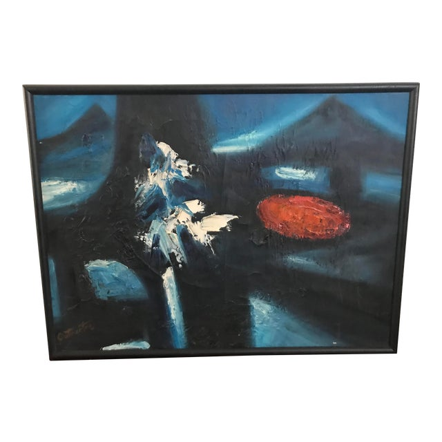 Vintage Mid-Century Modern Abstract Oil Painting Signed For Sale