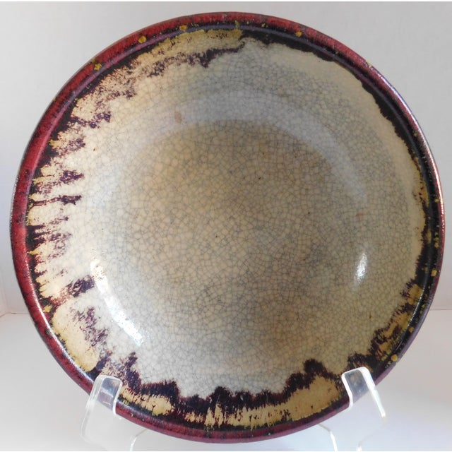 Vintage Claret and Taupe Heavy Glazed Pottery Bowl For Sale - Image 13 of 13