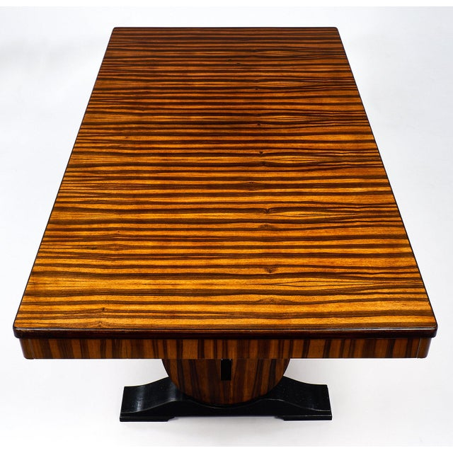 Ebony French Art Deco Period Macassar Dining Table For Sale - Image 7 of 10