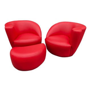 Red Leather Vladimir Kagan Nautilus Swivel Corkscrew Armchairs With Ottoman- 3 Pieces For Sale