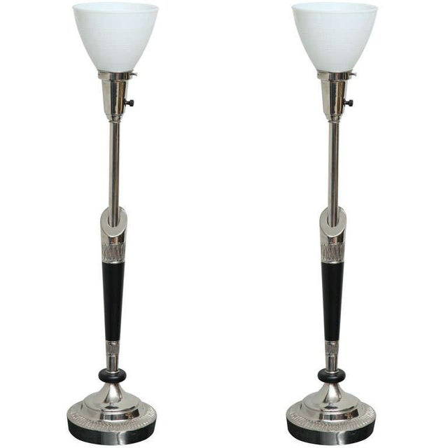 Pair of Stiffel Nickel and Ebonized Wood Table Lamps For Sale - Image 10 of 10