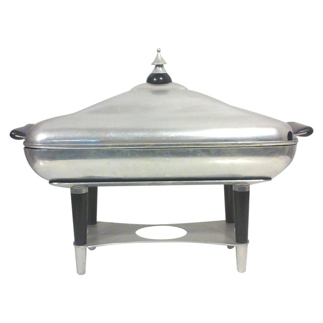Machine Age Deco Aluminum Chafing Dish For Sale