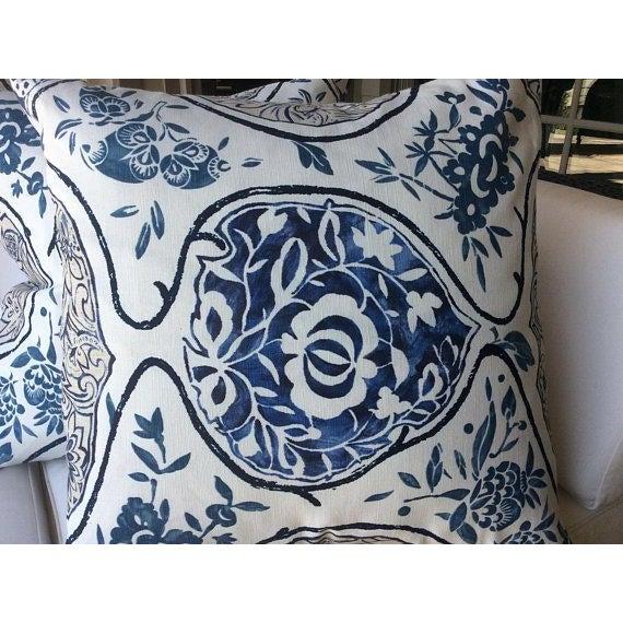 "Asian Schumacher ""Katsugi"" Blue Pillows - a Pair For Sale - Image 3 of 5"