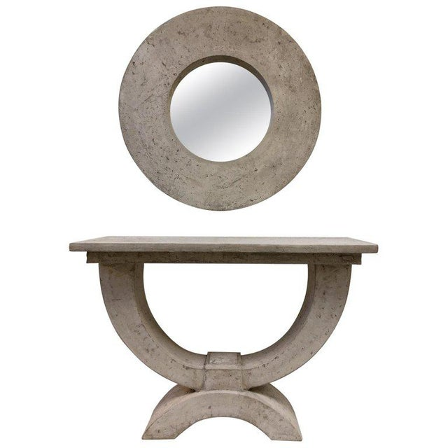 Gray Faux Stone Console Table and Mirror by Michael Taylor For Sale - Image 8 of 8