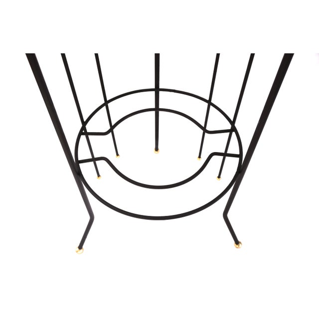 Mid-Century Atomic Era 3-Tier Metal Plant Stand ||Retro/Industrial Chic Black & Gold Tri-Level Vertical Tall Planter Stand || Sputnik Design For Sale In Los Angeles - Image 6 of 11