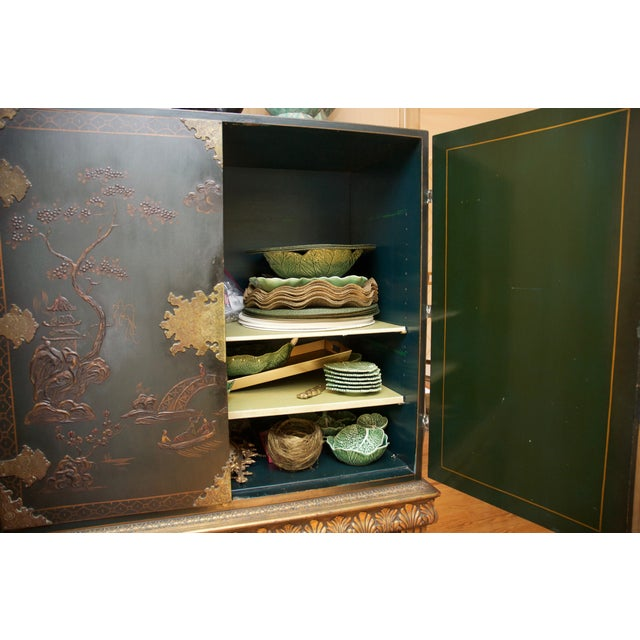 Hunter Green Vintage Chinoiserie Cabinet With Rais - Image 9 of 10