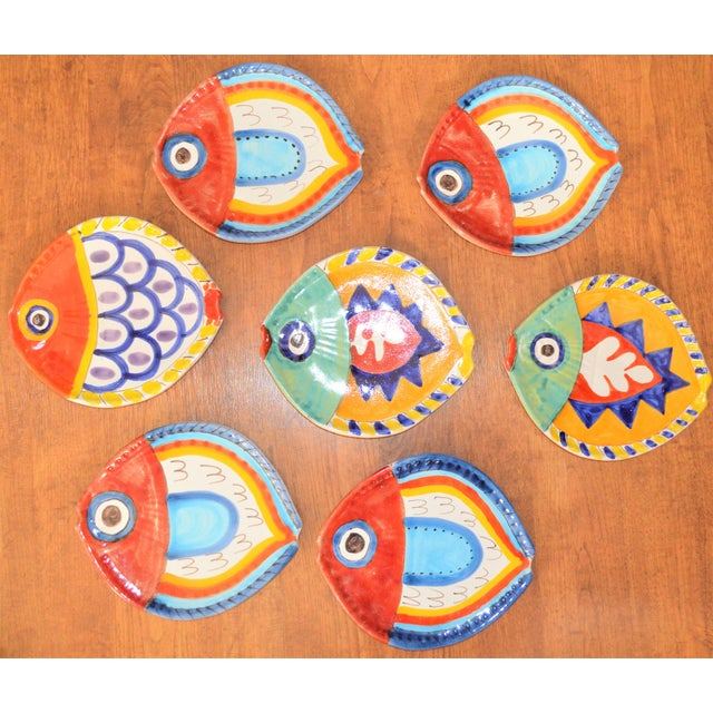 1980s Boho Chic DeSimone Terra Cotta Fish Plate For Sale In Houston - Image 6 of 13