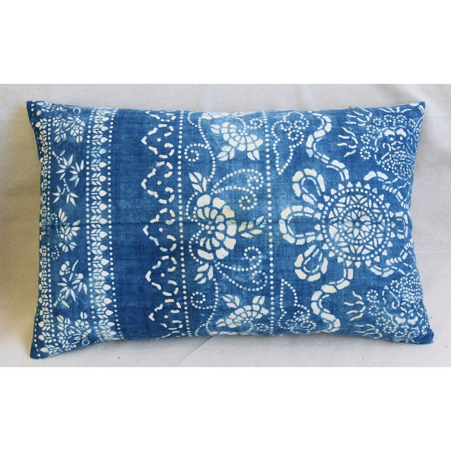 "Blue & White Shanghai Batik Chinoiserie Feather/Down Pillows 23"" X 16"" - Pair For Sale - Image 4 of 11"
