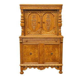 1920's Antique Jacobean Gothic Revival Solid Oak Cupboard For Sale