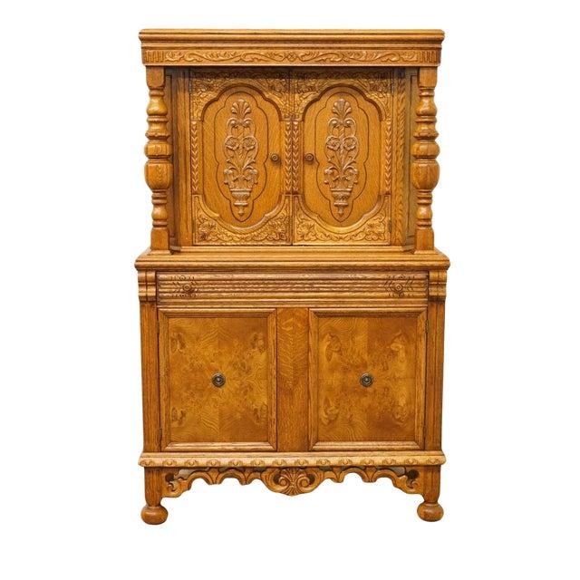 1920's Antique Jacobean Gothic Revival Solid Oak Cupboard For Sale
