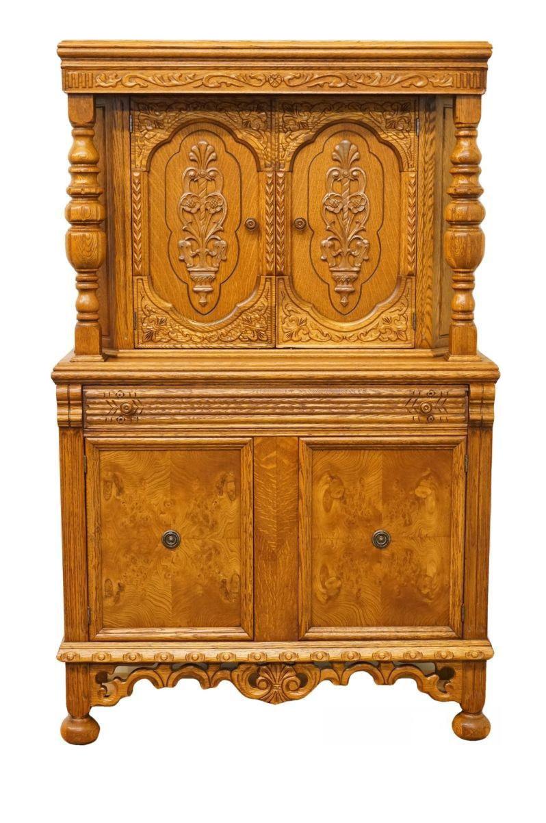 1920u0027s Antique Jacobean Gothic Revival Solid Oak Cupboard