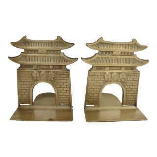 Vintage Chinoiserie Chic Brass Pagoda Bookends - a Pair For Sale