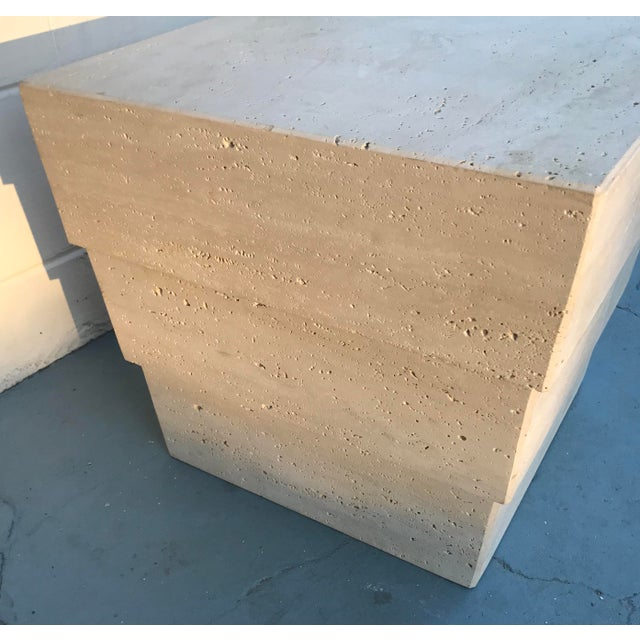 1970s Mid-Century Modern Stacked Travertine Occasional Table For Sale - Image 4 of 8