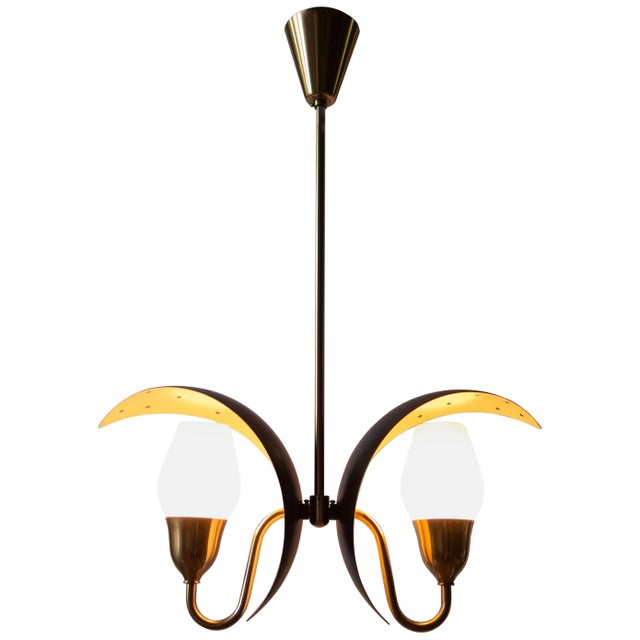 Fog & Mørup, Danish Black and White Painted, Brass and Glass 2-Arm Chandelier For Sale In Philadelphia - Image 6 of 6