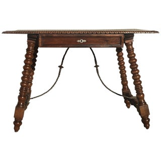 18th Spanish Revival Refectory Desk Table With One Drawer For Sale