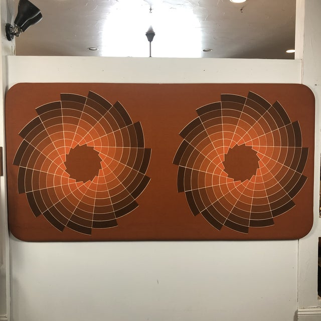 1960s Large Textile Optic Art Upholstered Panel For Sale - Image 11 of 11