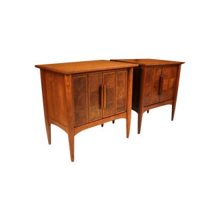 Pair Mid Century Heritage Walnut Burl Tables Nightstands For Sale