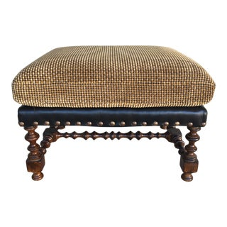 Century Furniture Nailhead Upholstered Ottoman For Sale