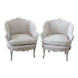 Pair of Vintage Painted and Upholstered French Style Marquis Chairs in Linen For Sale