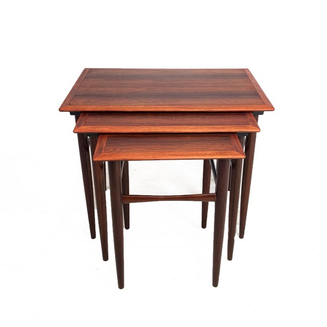 Mid-Century Modern Vintage Danish Rosewood Nesting Tables For Sale - Image 3 of 7