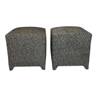 Grey Cheetah Print Custom Fabric Ottomans - A Pair